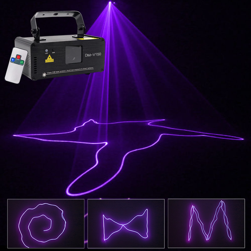 Sharelife Mini 150mw Purple Color DMX Laser Scan Light PRO DJ Home Party Gig Beam Effect Stage Lighting Remote Music DM-V150