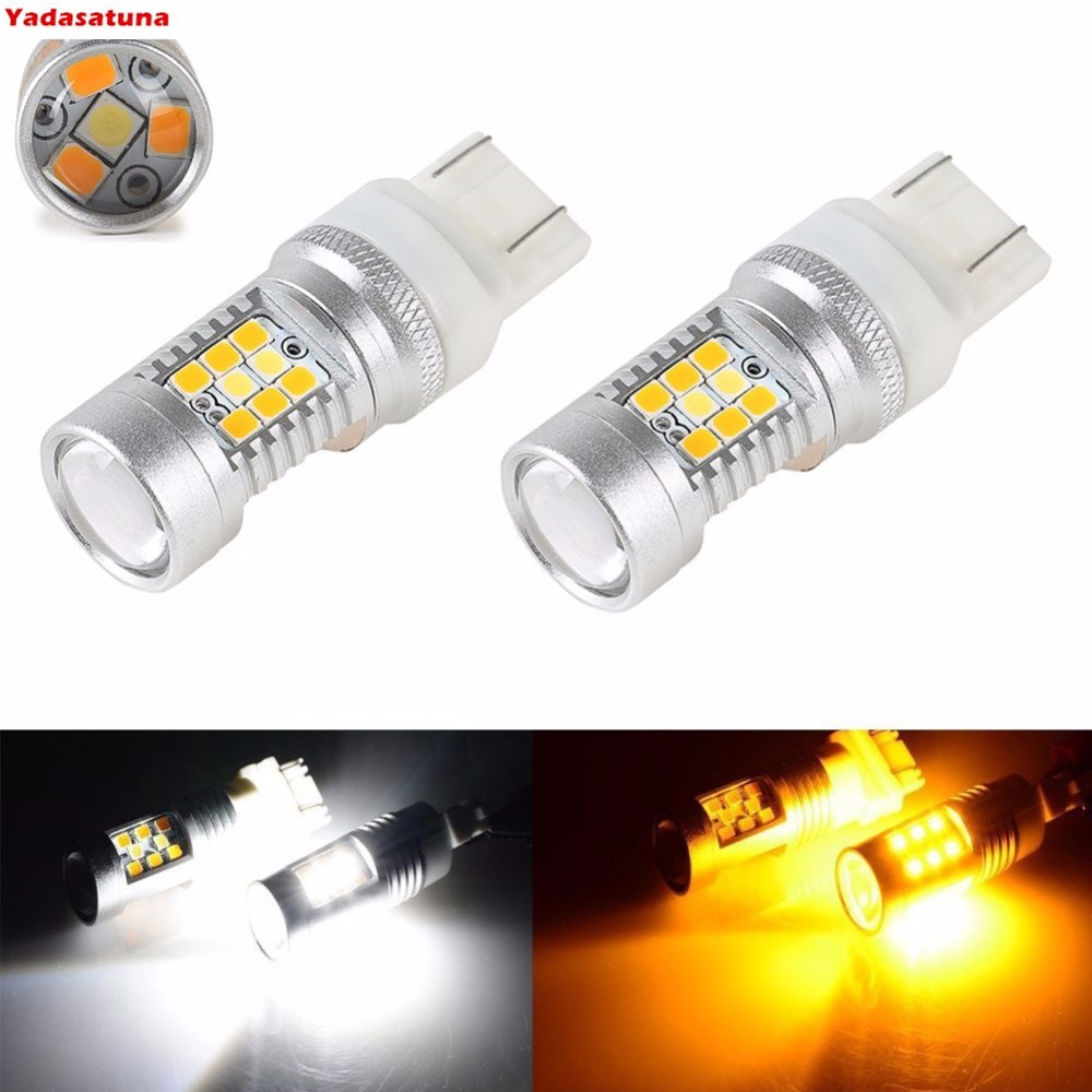 купить 2x Super Bright White/Yellow Dual-Color 7441 7443 7444 T20 28-SMD Switchback LED Bulbs For Turn Signal Lights DRL 2-pack онлайн