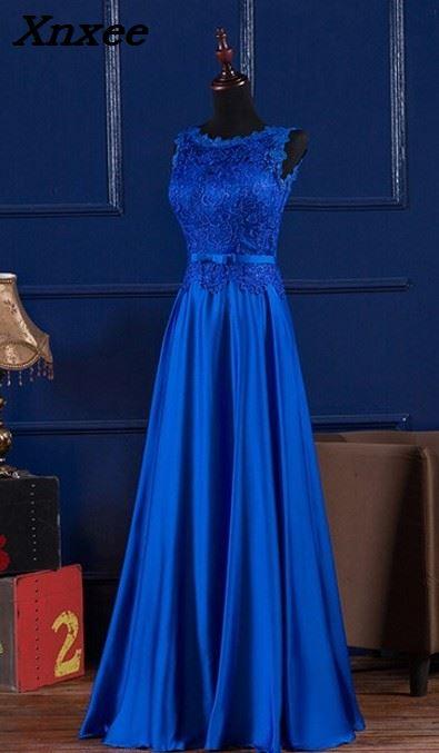 Elegante Royal Blue/Wein Rot Scoop Spitze Satin Lange Kleider Für Hochzeit Party Sommer Prom Abendkleider 2018 Maxi kleider vestidos-in Kleider aus Damenbekleidung bei  Gruppe 2