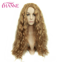 HANNE 26inch Mixed Brown and Blonde Color Long Natural Body Wave Heat Resistant Synthetic Hair Wigs For Black Or White Woman