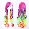 Fashion Women long curly synthetic hair anime cosplay wig Cheap synthetic multi color Rainbow wig cosplay for costume party