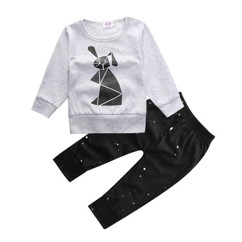Newborn Babys Sets Boys Autumn Long Sleeve T-Shirt +pants 2 Piece Suit Kids Cotton Pullover O-Neck Clothing Infant Clothes