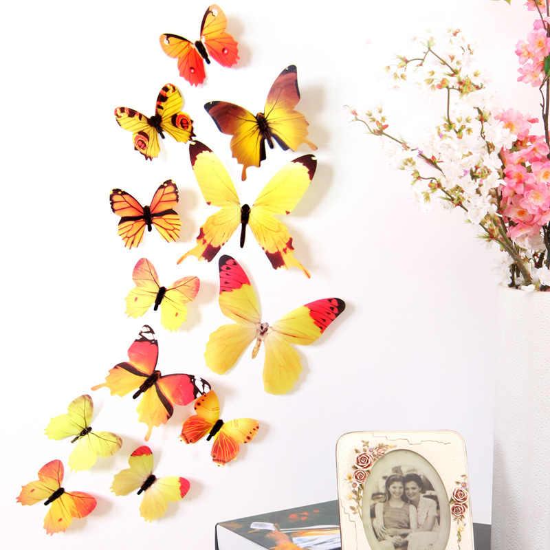 12 قطعة الفراشات الجدار ملصق الشارات ملصقات على الحائط السنة الجديدة ديكورات المنزل ثلاثية الأبعاد فراشة بولي كلوريد الفينيل خلفية لغرفة المعيشة