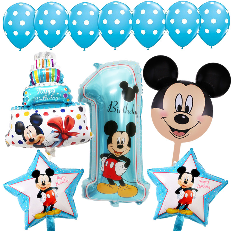 13pcs Baby 1st Birthday Balloons Mickey party babyshower comfetti helium balloon ballon pink blue latex baloes I AM ONE supplies ...