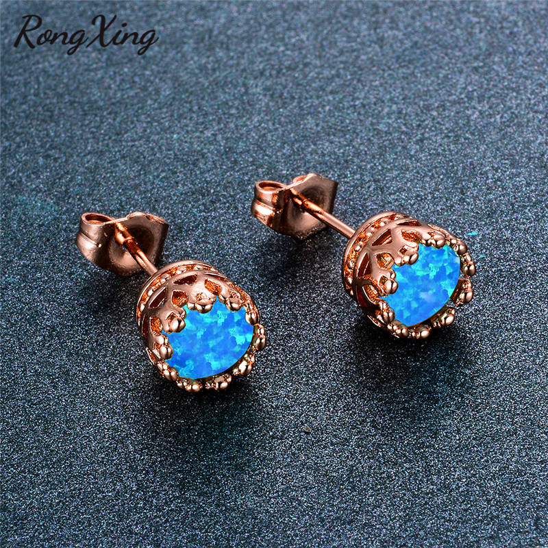 Us 3 99 20 Off Rongxing Vintage Fashion Rose Gold Round Opal Ear Stud Earrings For Women White Blue Green Pink Purple Fire Earring Ear0771 In