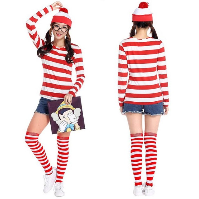 Free shipping Whereu0027s Wally Waldo Adult women party cosplay Waldo costume clothes hat stocking glasses  sc 1 st  AliExpress.com & Free shipping Whereu0027s Wally Waldo Adult women party cosplay Waldo ...