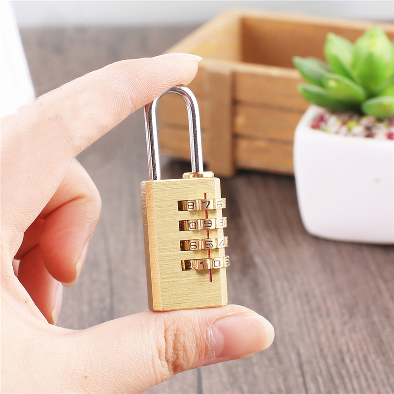 Mini Copper 4 Digits Number Password Code Lock Combination Padlock Resettable For Travelling Bag Door Portable Home Decorations