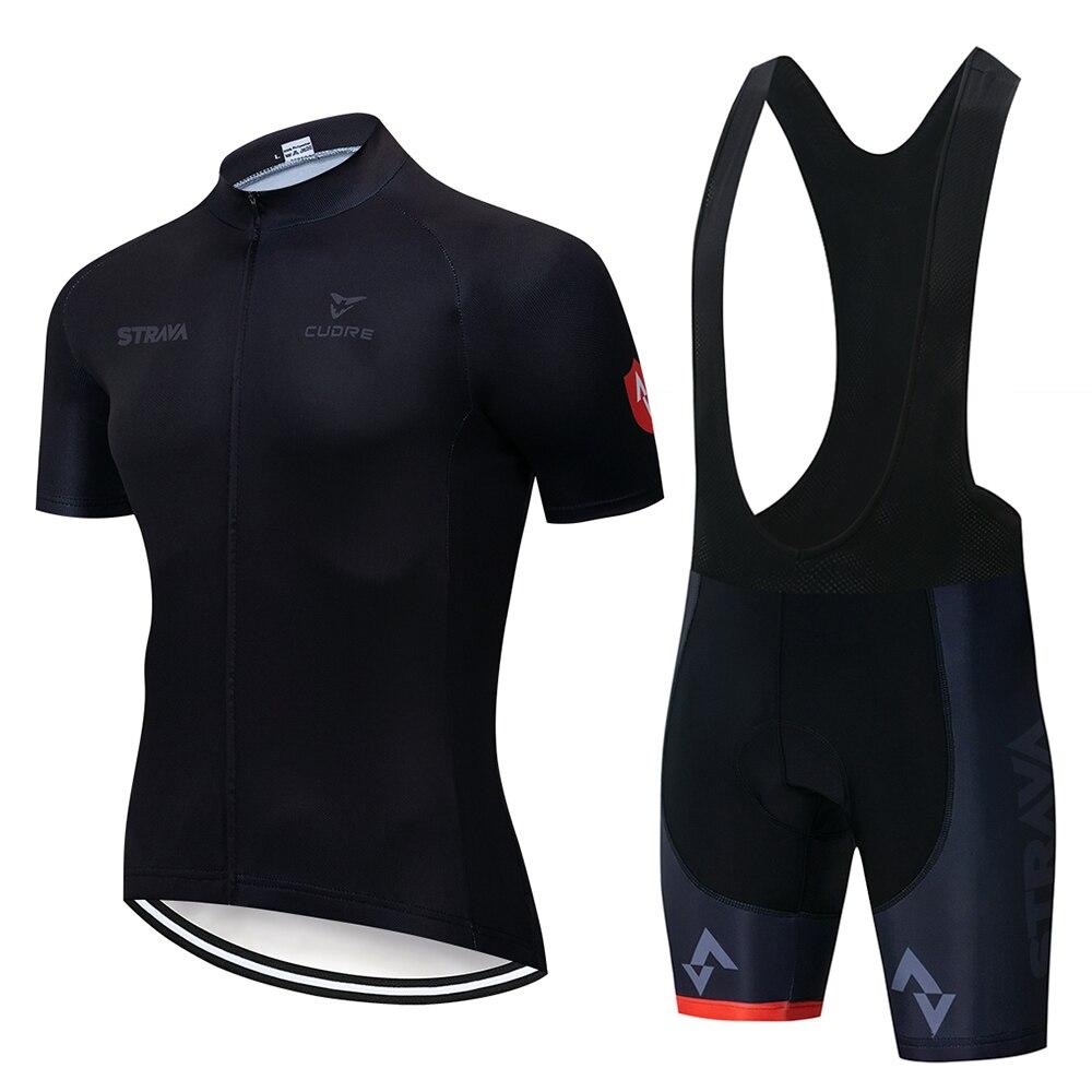 2019 lato Strava nowa koszulka kolarska zestaw z krótkim rękawem Maillot Ropa Ciclismo Uniformes szybkoschnąca odzież rowerowa MTB odzież rowerowa