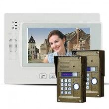 "7 "" Key Touch LCD Video de la puerta teléfono Video Intercom IR cámara contraseña bloqueo de visión nocturna 2V1"