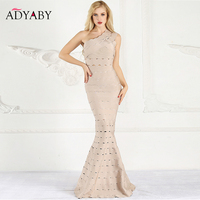 Mermaid Bandage Dress Maxi One Shoulder Elegant Celebrity Party Dresses Women Summer 2019 Sexy Long Dress Hollow Out Vestidos
