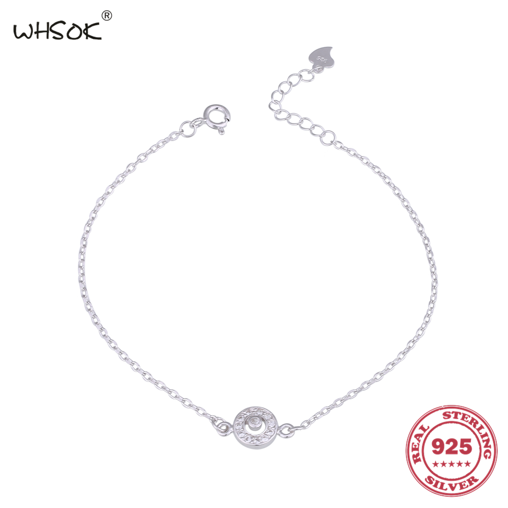 Free Shipping High Quality Simple Round Design Charms Crystal Bracelet Femme Chain Bracelets For Women Jewelry Gift WHSOK-0115