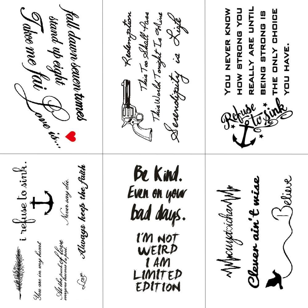 HXMAN English Letter Waterproof Temporary Tattoos Sticker Women Men Arm Fake Body Art 10.5X6cm Kids Adult Hand Tattoo L-001