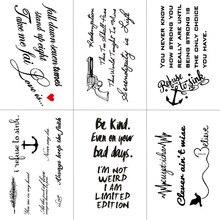 TCOOL English Letter Waterproof Temporary Tattoos Sticker Women Men Arm Fake Body Art 10.5X6cm Kids Adult Hand Tattoo L-001