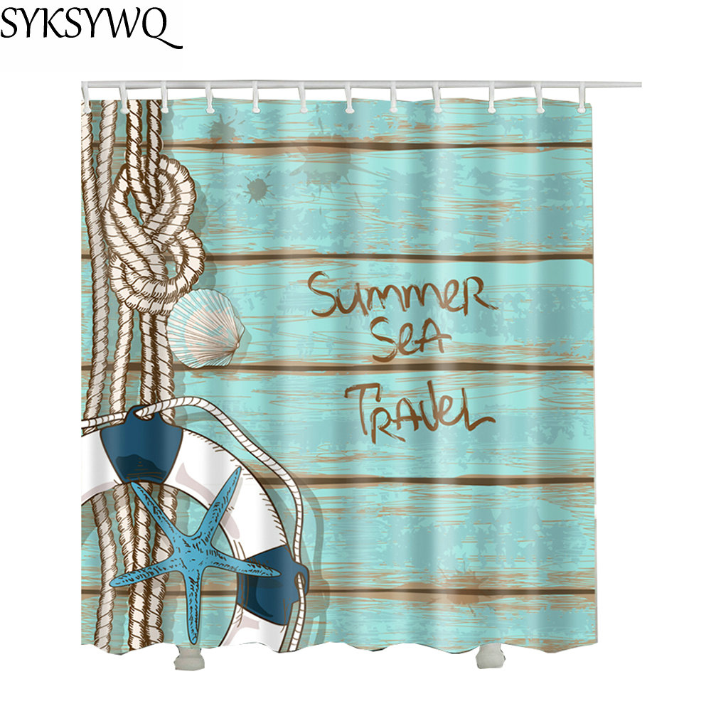 Vintage Wood Board Shower Curtain Waterproof Polyester Fabric Drop Shipping Lifebuoy 3d Bathroom Curtain