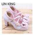 LIN KING New Spring Lolita Girl Candy Color Comfortable Shoes Bowtie Cross Straps Waterproof High-heel Cosplay Women Shoes