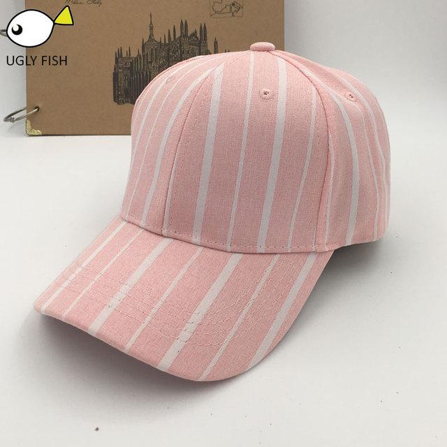 Cap Women baseball cap women pink black stripe adjustable baseball cap  black pink with gift a7be43c0cea