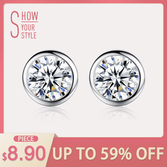 CZCITY Single Round CZ Stone Stering Silver Earrings for Women Shining Classic C