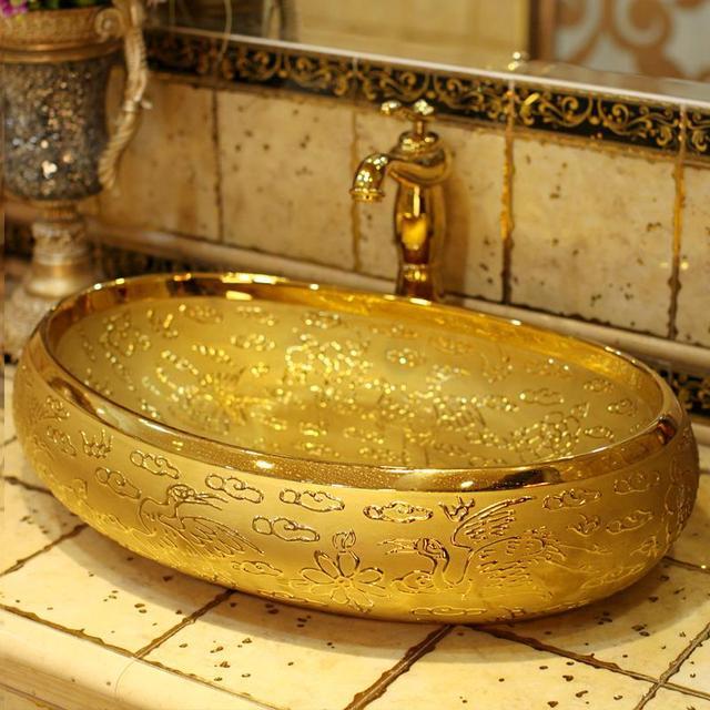 Di lusso In Rilievo D\'oro porcellana bagno vanità lavandino del ...