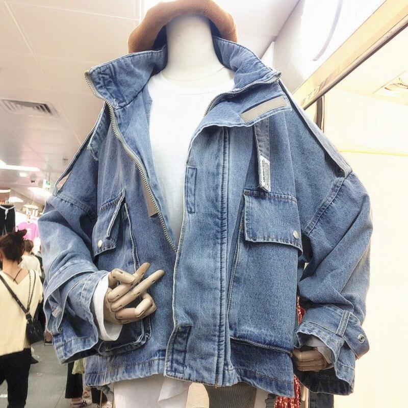 Femmes Denim veste femme lâche manteau 2019 étudiants court Denim veste manteaux printemps femmes à manches longues Jeans Cowboy manteau pardessus