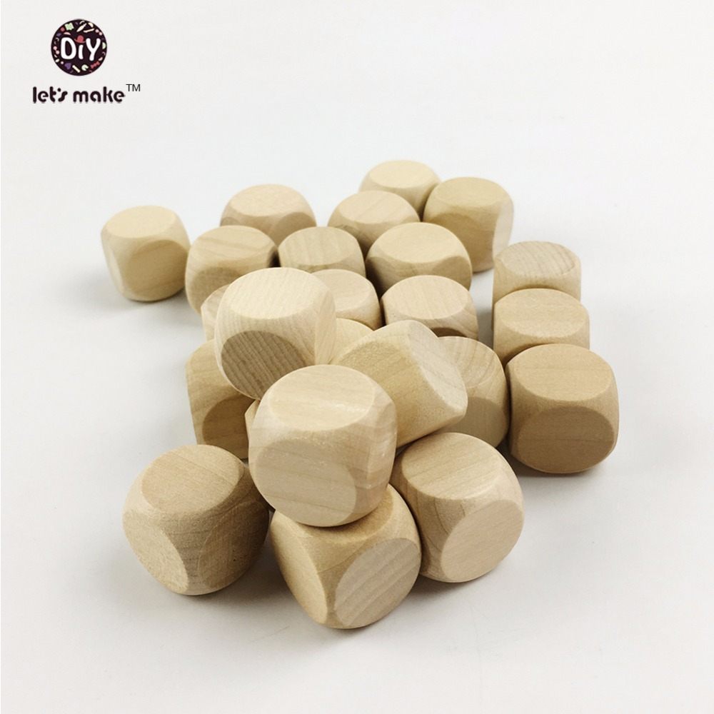 Let's Make 200 Blocks Natural Cubes Beads(20mm)Unfinished Alphabet Blocks Dice Baby Shower Activity Gifts Square Building Block