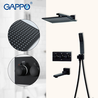 GAPPO Shower faucets black bath mixer faucet 3 function shower mixer waterfall bathroom mixer rainfall bath set shower faucet