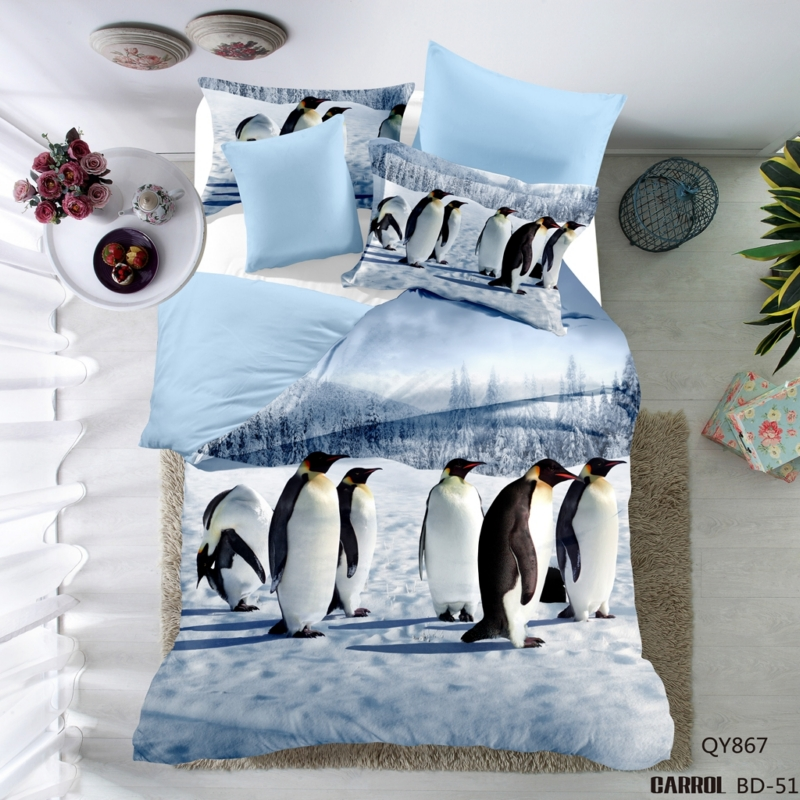 Polyester Penguins Cartoon style 3D Bedding 3pcs Twin Full Queen size bed 1 Duvet cover Pillowcase Bedding set USA CA Size