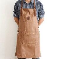 Brown Long Canvas Apron W Y Leather Strap Barista Bar Baker Catering Uniform Barber Florist Carpenter