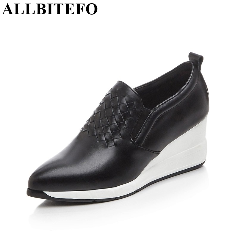 ФОТО ALLBITEFO fashion wedges Patchwork genuine leather High quality women pumps pointed toe high heel shoes platform casual shoes