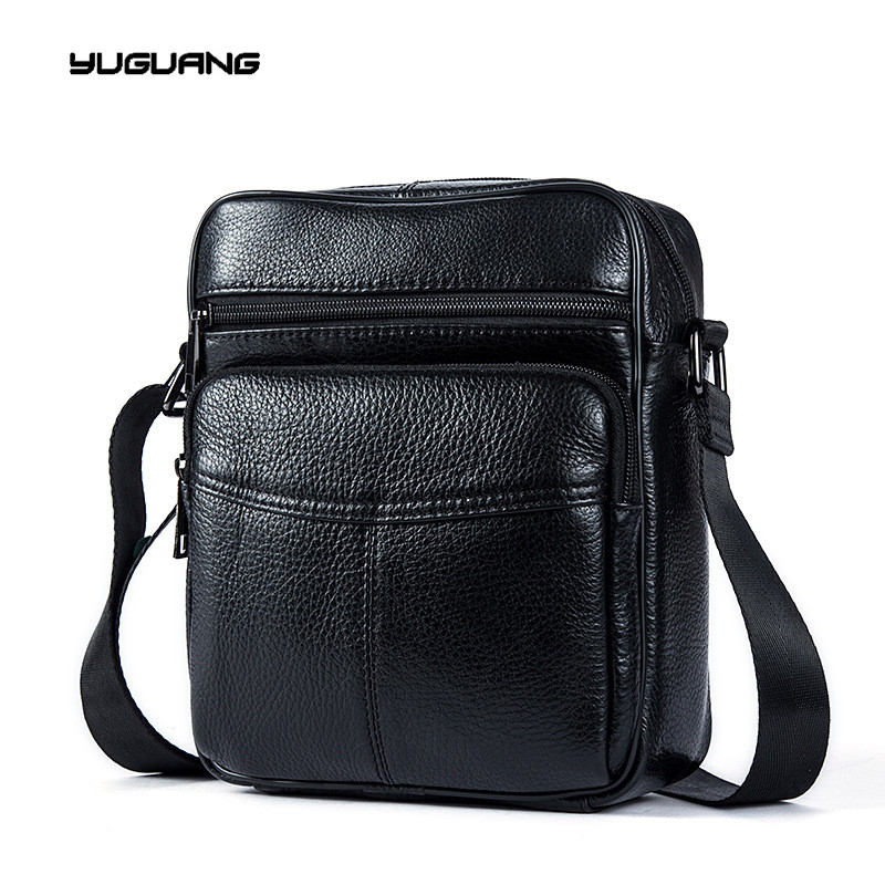 Three color leather bag brand in Europe and America pure men s shoulder bag leather satchel