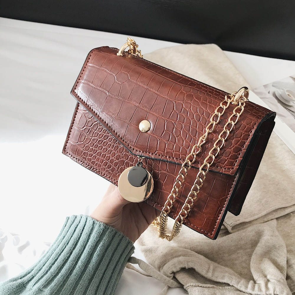 494e19eeb4 Stone pattern PU Leather Crossbody Bags For Women 2018 Ladies Shoulder Bag  Female Small Chain Handbags
