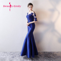 Beautiful Lace Evening Dresses Long royal blue Mermaid Prom gown Vestido de Festa Floor length Muslim formal Party Dresses 2018
