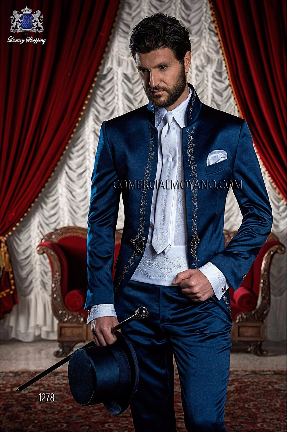 Latest Coat Pant Designs Navy Blue Embroidery Satin Men Suit Custom Italian Blazer Slim Fit 2 Piece Prom Gentle Tuxedo Masculino