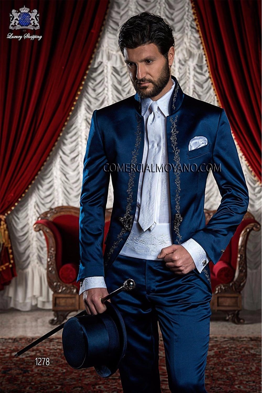 Neuesten Coat Pant Designs Marineblau Stickerei Satin Männer Anzug - Herrenbekleidung