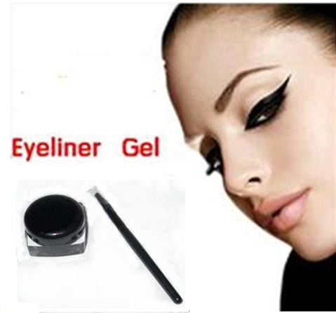 Black Eye Liner Waterproof Eyeliner Gel Makeup Cosmetic + Brush , free shipping X244