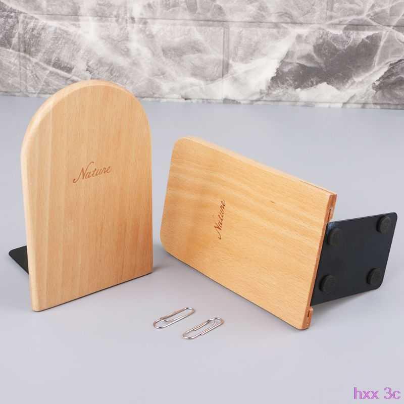 طبيعة خشبية منظم سطح المكتب سطح المكتب مكتب المنزل الدفتين مضاد للانزلاق كتاب ينتهي حامل حامل الرف