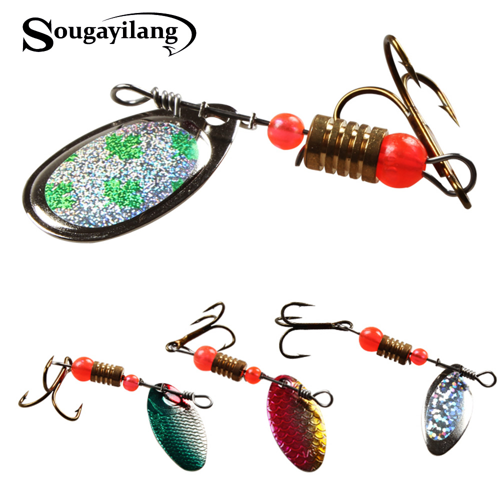Sougayilang 30Pcs Spinners Spoon Fishing Lure Pike Salmon Lures Various Assorted Laser Spinners Spoon Rotating Bait Fishing Lure salmon