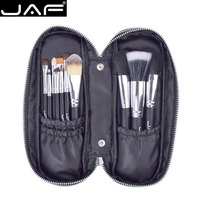 JAF 12pcs High Quality Make Up Brush Set Leather Case With Zipper Professional Cosmetic Beauty Makeup