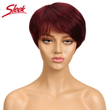 Sleek Peruvian Straight Human Hair Wigs For Black Women Remy Non Lace Front Human Hair Wigs With Bangs Perruque Cheveux Humain natural wave lace front human hair wigs middle part short remy wig for black women perruque cheveux humain 1b 99j hanne hair