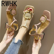 RWHK 2019 new summer thick with wild a word buckle square head metal decorative retro Roman sandals women B007