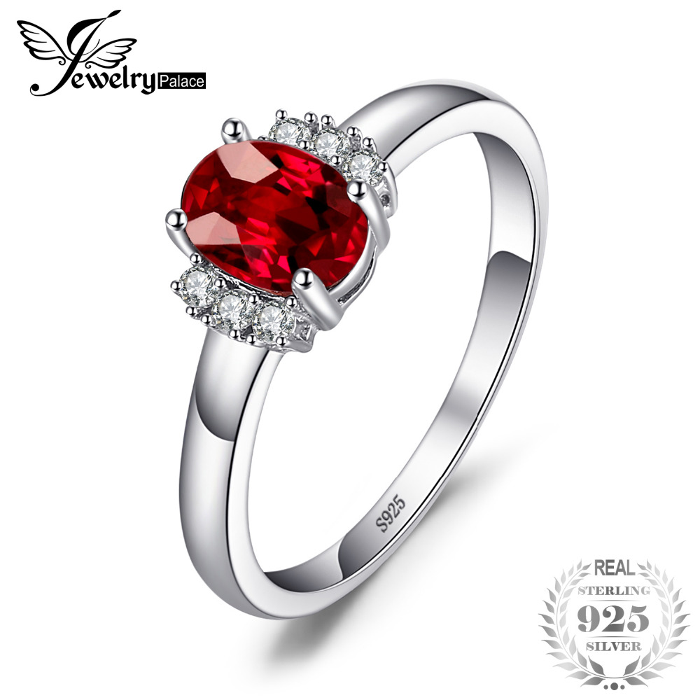 JewelryPalace 1.1ct Oval Natural Red Garnet Ring 100% Real 925 anillos de compromiso de plata esterlina para las mujeres regalo de la joyería fina 2018