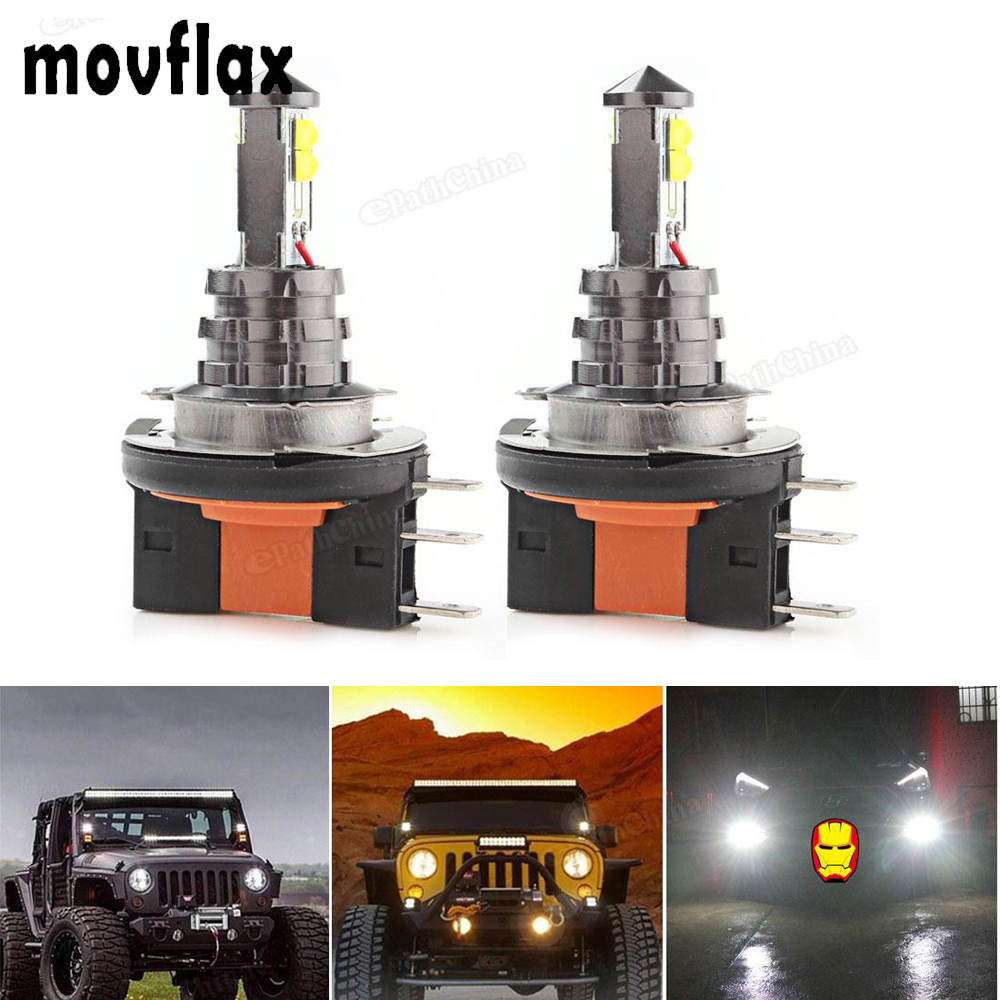 2pcs! 20W H15 LED Car Fog Light Bulb White Headlight 12V / 24V 360 Degree 720lm 6000K Auto Head Light Fog Lamps with 4 SMD LEDs