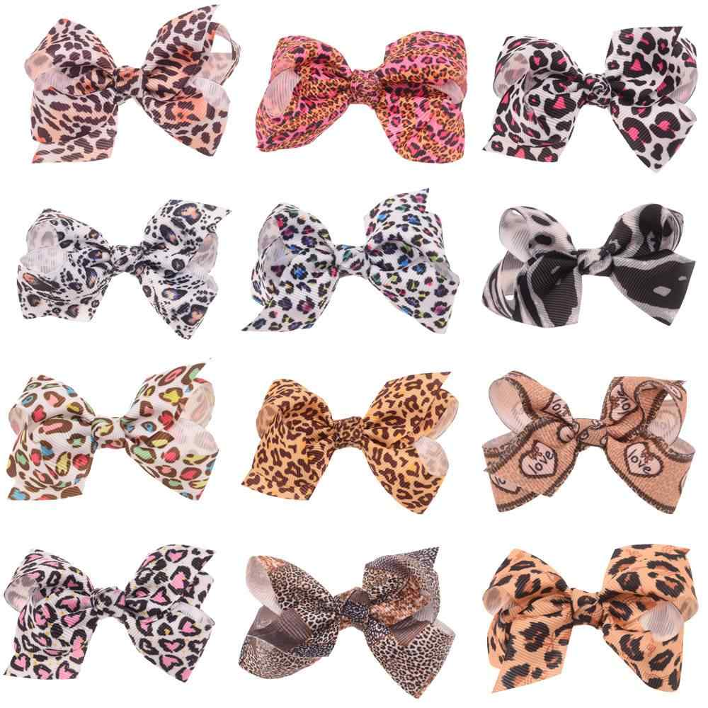 16PCS   2.7inch Leopard Printed bows for hair zebra Bow Cute Hair AccessoriesHair Flower BowsHair Clips or No Clip Barrette