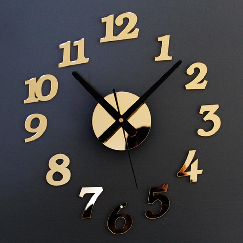 Arabic Numerals Creative Antique DIY Self Adhesive Acrylic Living Room Wall Clock Quartz 3D Digital Home Decor Retro Art Watch