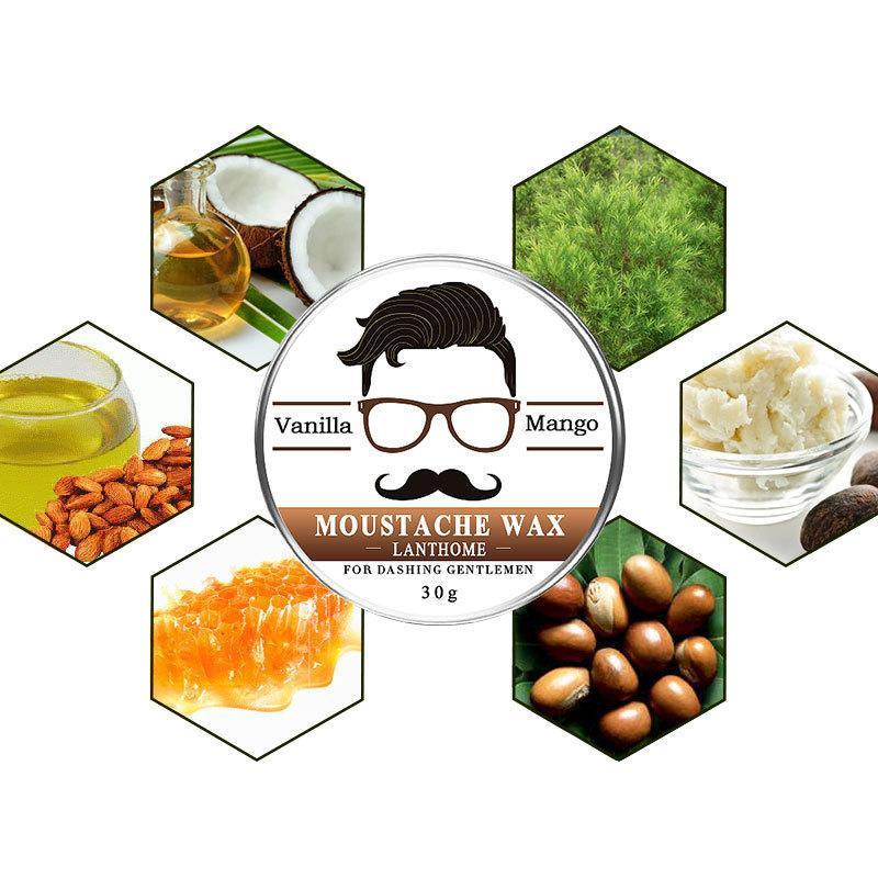 Natural Conditioning Softener Beeswax Moustache Wax 30g Beard Balm Beard Conditioner Leave in Styling Aftershave For Men 2