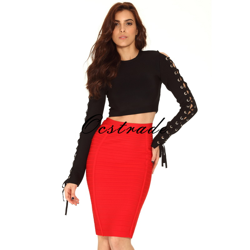 Free Shipping New 2016 Women Summer Red Knee Length Bandage Skirts Aqua Black Orange Blue 5 Colors Available