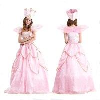 New Fashion Beauty Pink Princess Dress Halloween Costumes Flower Fairy Dress Adult Women Fancy Cosplay Costume