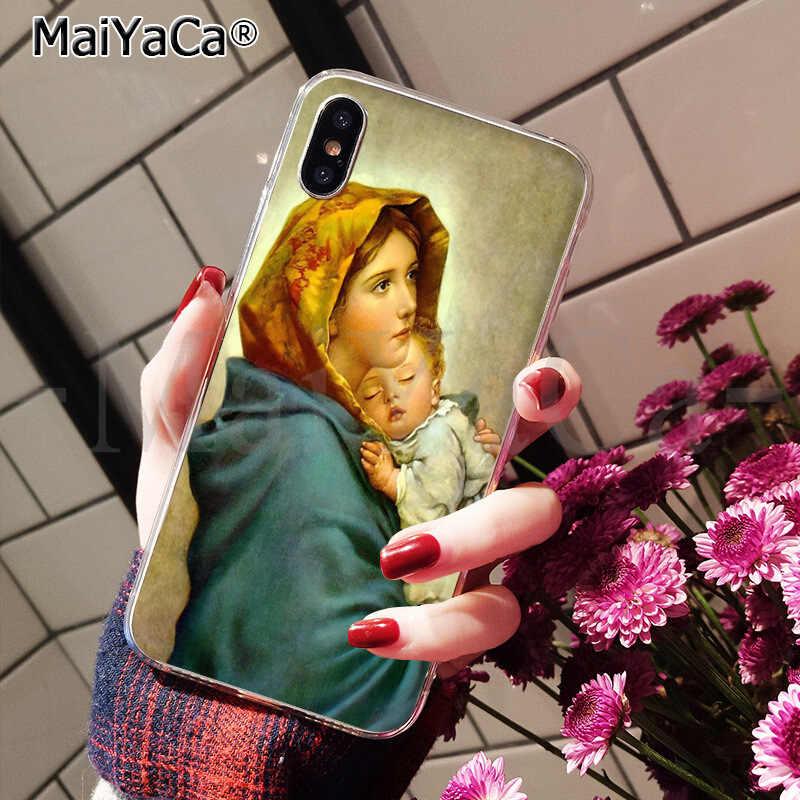 MaiYaCa 聖母マリアクリスチャンクリスマス新着ブラック携帯電話 iphone 11 プロ 8 7 66S プラス X XS 最大 5S 、 SE XR