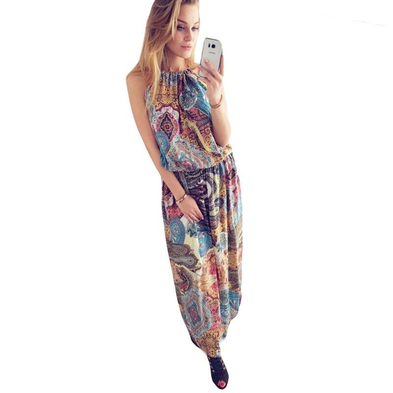 ≧Mujeres Boho vestido estilo bohemio Totem flor impreso Halter ...