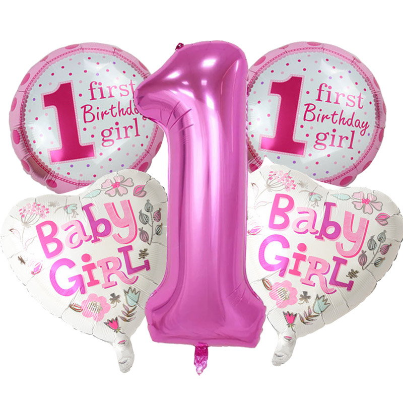 5 pieces baby 1st birthday balloons set pink blue number for 1st birthday girl decoration