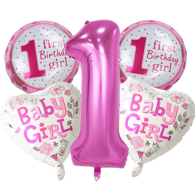 Placeholder 5 Pieces Baby 1st Birthday Balloons Set Pink Blue Number Foil Party Decorations Kids